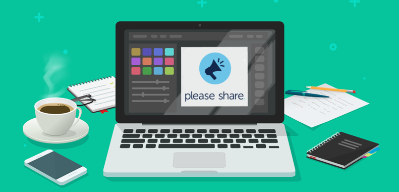 laptop with Please Share app